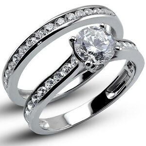 1-60-CT-Round-Cut-Lab-Engagement-Ring-with-Matching-Band-Solid-14K-White-Gold