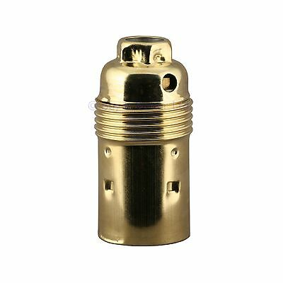 Lamp Bulb Holder Small Edison Screw SES E14 10mm Locking Entry Brass Plated