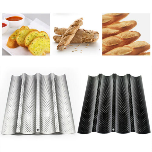 Non-stick Perforated Baguette Pan French Bread Pan Wave Loaf Bake Bakeware Mould