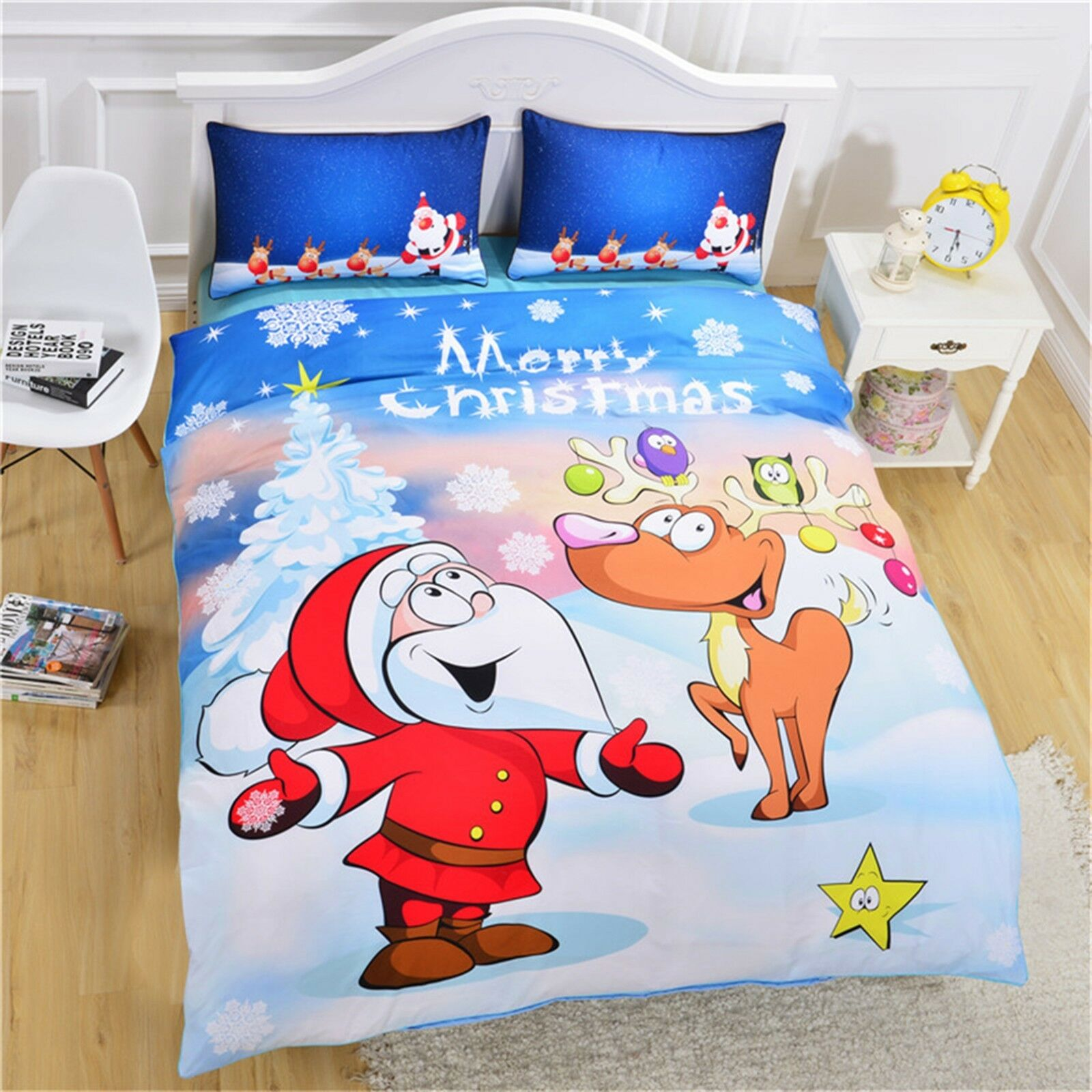 3D Happy Christmas 482 Bed Pillowcases Quilt Duvet Cover Set Single Queen CA