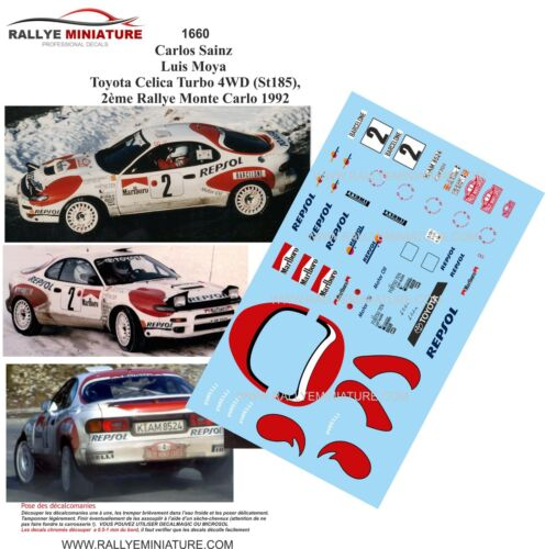 Calcomanías 1//18 Ref 1660 Toyota Celica Carlos Sainz Rallye Montar 1992