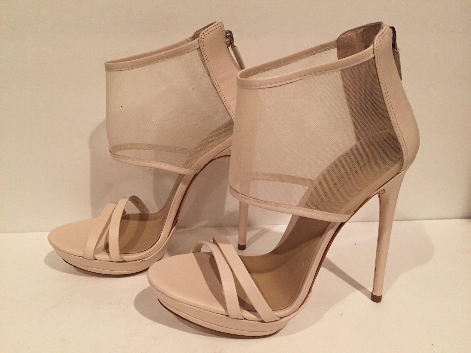 protezione post-vendita BCBG Max Azria Ferned Sandals Sandals Sandals Heel Leather Mesh Natural 8 M 38  275 Worn Once  fornire un prodotto di qualità