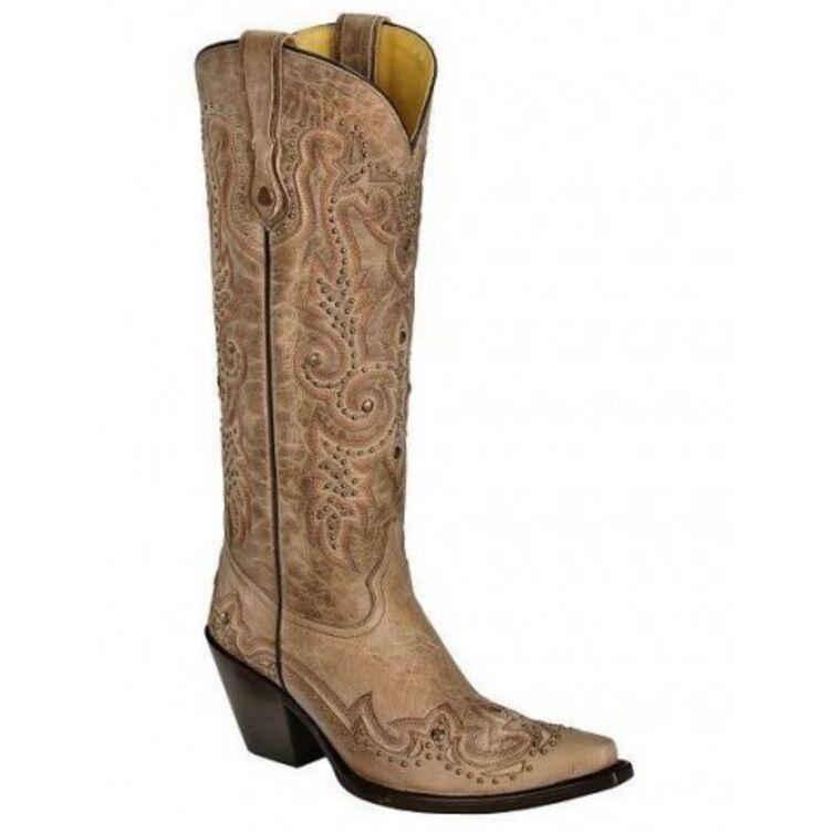 presentando tutte le ultime tendenze della moda Corral Ladies Bone Wing Tip and Stud Stud Stud avvio G1032  divertiti con uno sconto del 30-50%