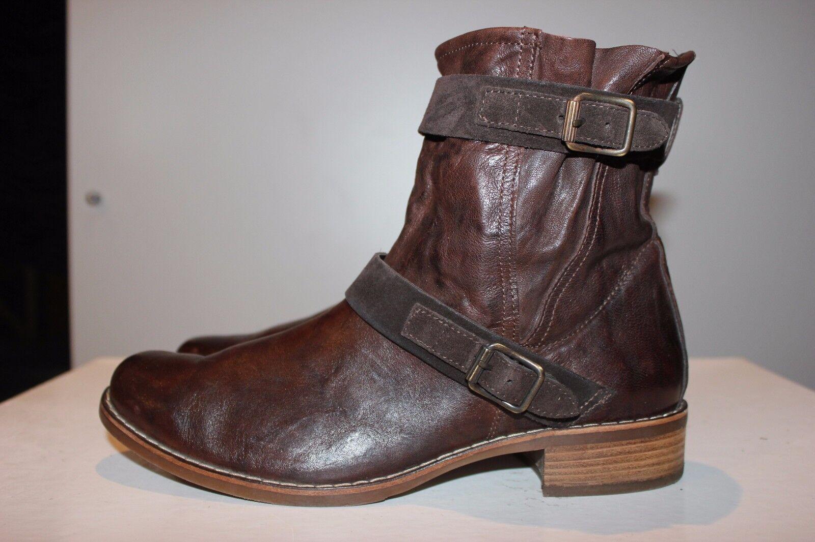 Paul verde sueño marrón cuero auténtico botas de motorista,  uk6, top estado