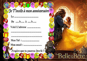 5 cartes invitations anniversaire la belle et la b te film. Black Bedroom Furniture Sets. Home Design Ideas