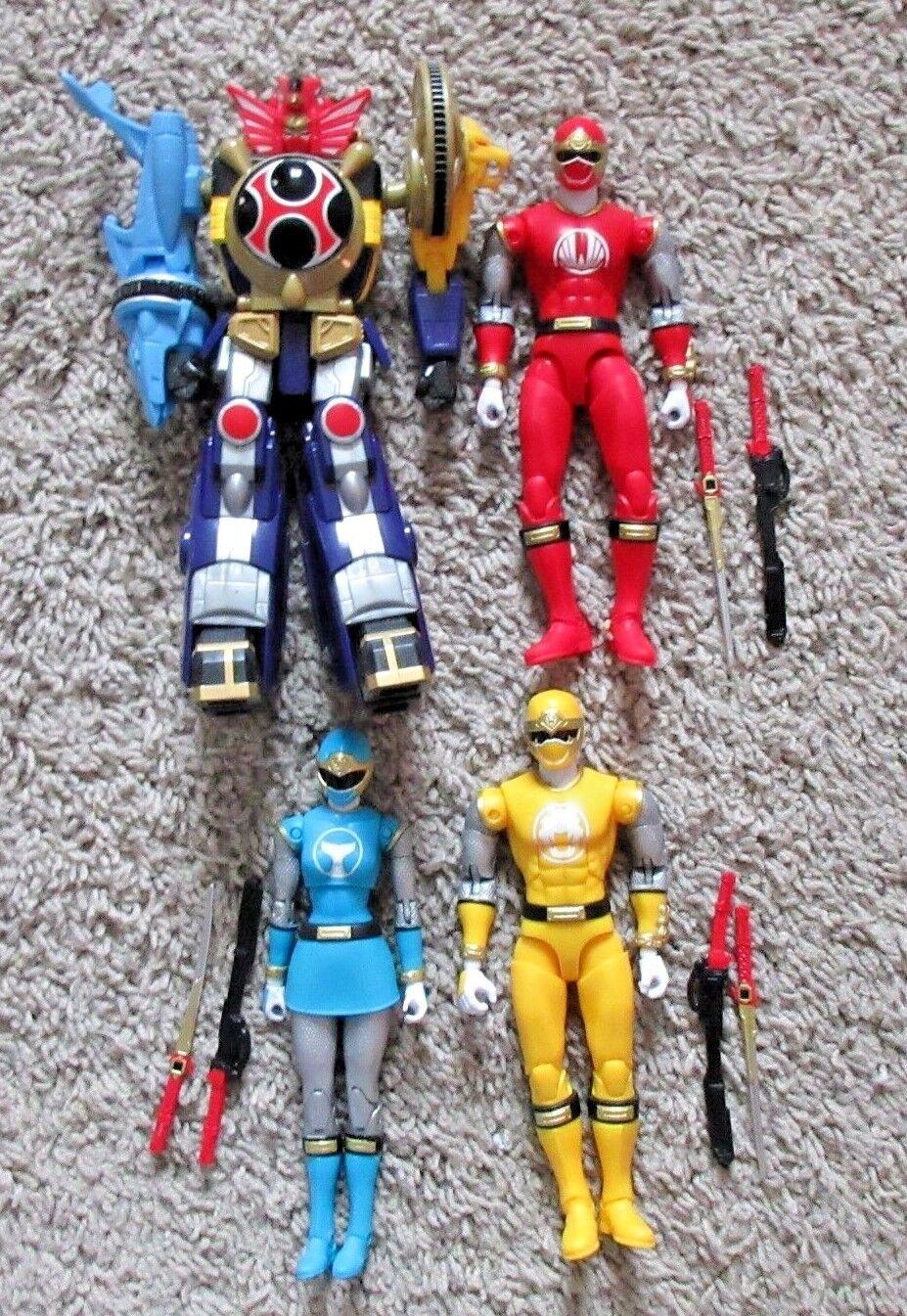 alto descuento Power Rangers Ninja Force Force Force Legacy Lote 4 Megazord Azul Rojo Amarillo Set Baf  despacho de tienda