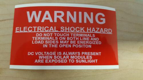 Vinyle PV solaire Avertissement photovoltaïque étiquettes Choc électrique risque résistant aux UV