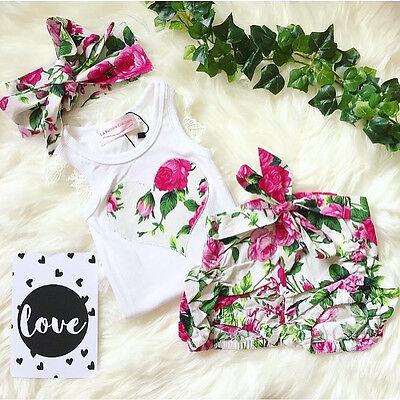 Toddler Kids Baby Girl Outfits Set Tops Vest+Shorts Pants Summer 3PCS Clothes UK