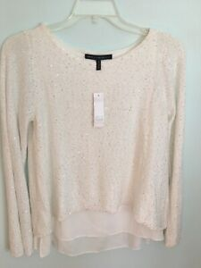 WHITE-HOUSE-BLACK-MARKET-WOVEN-HIGH-LOW-HEM-SEQUIN-PULLOVER-SWEATER-M-New