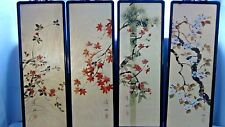 SEIFU KOJIMA (JAPAN) 4 SEPARATE FRAMED INK ON GOLD SILK PANELS OF BIRDS&PLANTS