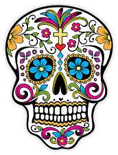 Cranio fiore Mardi Gras skull schädel crâne череп etichetta sticker 9cm x 12cm
