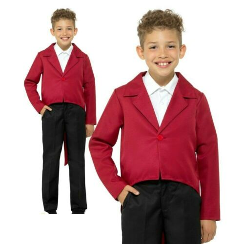 Red Tailcoat Jacket Circus Ringmaster Greatest Showman Childs Fancy Dress Kids