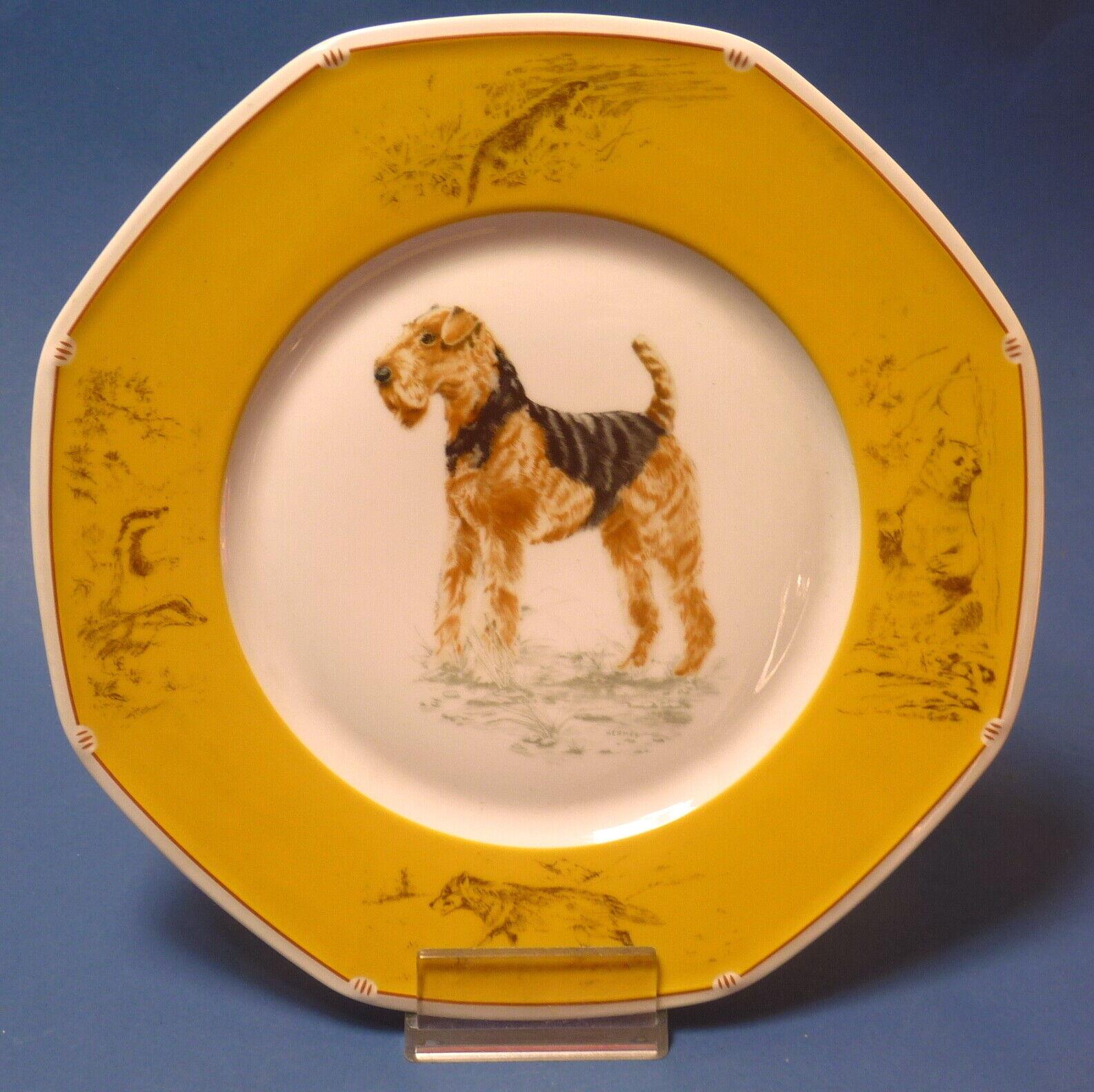 Hermès plato con caza-perros-motivo 'Airdale terrier ' - 25,5 cm  15864