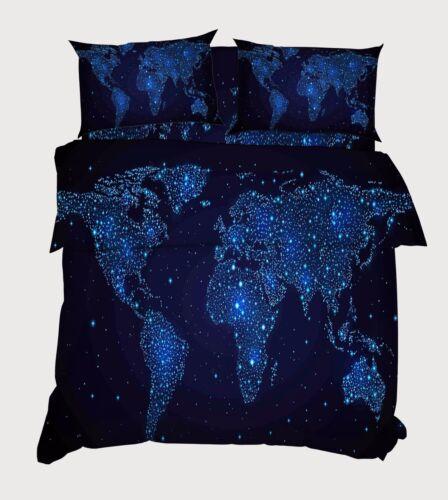 3D Stars World Map 7 Bed Pillowcases Quilt Duvet Cover Set Single Queen AU Lemon