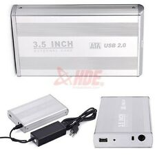 "3.5"" Inch USB 2.0 SATA HDD Hard Drive External Enclosure Case Cover Box w/ Cable"