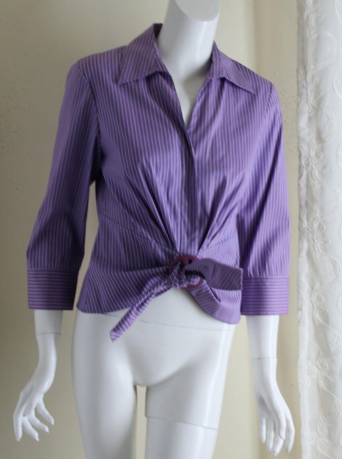 Lafayette 148 Sz 4 Exquisite Cotton Purple Stripe Tie Front Shirt Blouse Top