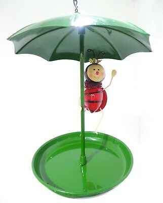 Metal Hanging Umbrella Bird Bath Feeder With A Choice Of 3 Different Insects