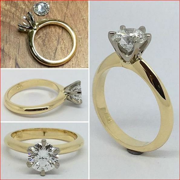 2 Tone Solitaire Moissanite Ring 2 Ct White Round Engagement Ring 14K gold