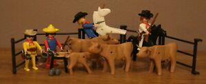 Playmobil 3484 Cowboys Lot Western avec personnages, chevaux et bovins