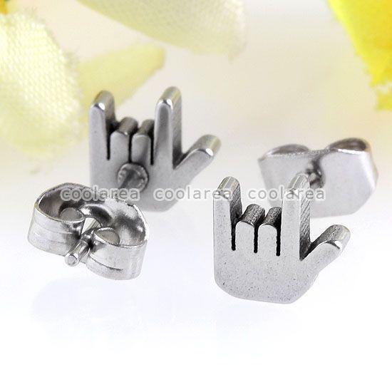 Pair Stainless Steel I LOVE YOU Hand Ear Earrings Stud Mens Womens Cool Earlets