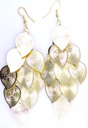silver tone leaf chandelier earrings Gold