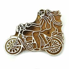 Wood Block Art Couple On Motorcycle Decorative Textile Printing Blocks PB2569A