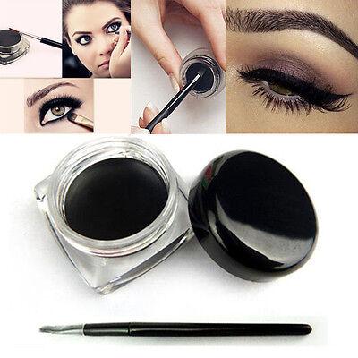 New Pro Waterproof Black Eye Liner Shadow Gel Cream Cosmetic + Brush Makeup Tool