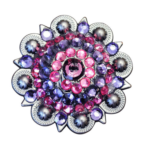 U-TY08 SET OF 8 PINK PURPLE RHINESTONES BERRY CONCHO HEADSTALL SADDLE TACK COWGI