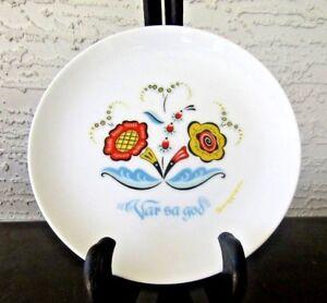 Lot-of-4-Swedish-Berggren-Plates-VAR-SA-GOD-Scandinavian-1960-039-s-Folk-Art-Flowers