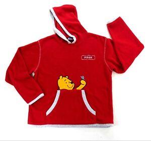 834f37ad Disney Pooh Womens Red Fleece White Trim Pullover Hoodie Kangaroo ...