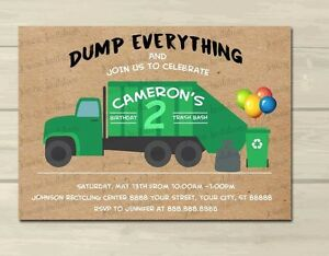 Details About Garbage Truck Birthday Invitations Trash