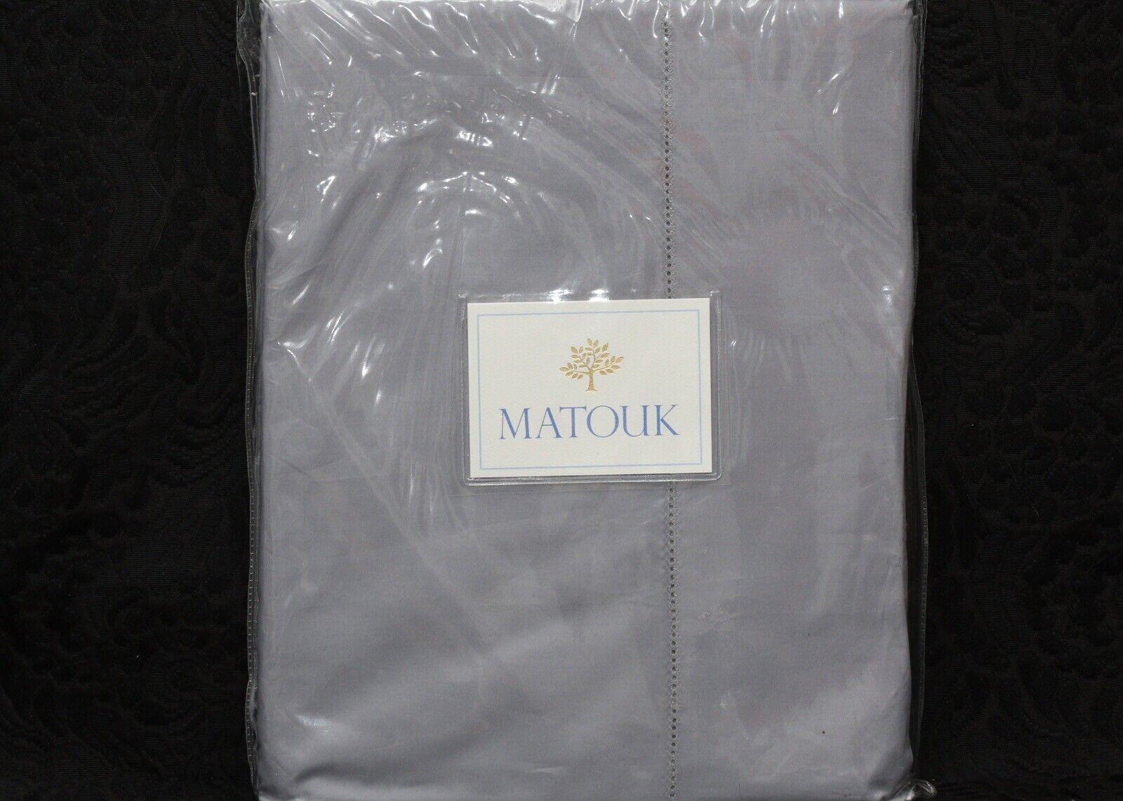 MATOUK LUCA SLATE 100% Egyptian Cotton Percale Hemstitch KING Size Flat Sheet