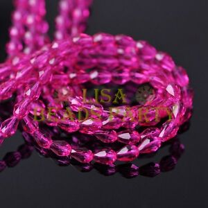 New-100pcs-5X3mm-Teardrop-Crystal-Glass-Faceted-Spacer-Loose-Beads-Rose