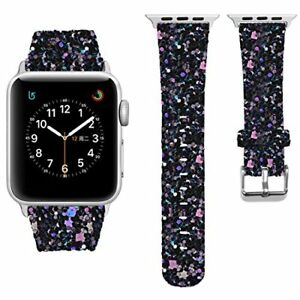 Bling Band for Apple Watch 38 42mm Series 4 3 2 1 Shiny Glitter PU ... 71432e65217e