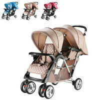 New Infant Tandem Double Seats Pram Twins Pushchair Children Buggy Baby Stroller