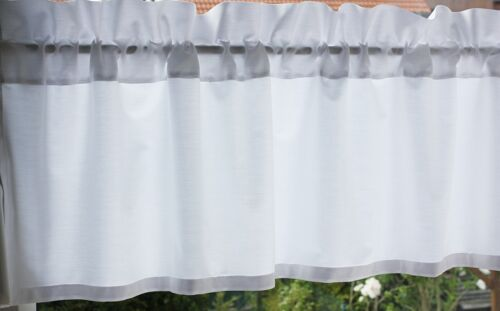 *Deko-Traeume* Kurzgardine Scheibengardine Weiß Uni B 150 H 28+4 cm