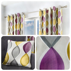 Fusion-LENNOX-Grey-Purple-amp-Yellow-100-Cotton-Eyelet-Curtains-amp-Cushions