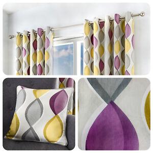 Fusion LENNOX Grey, Purple & Yellow 100% Cotton  Eyelet Curtains & Cushions
