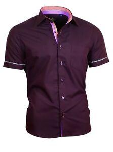 Hemd-Herrenhemd-Shirt-Brusttasche-Kurzarm-Binder-de-Luxe-84001-dunkel-lila