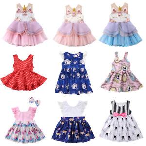 Kids Baby Girls Unicorn Cartoon Floral Party Pageant Tutu Dress Sundress Clothes