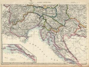 Empire Autrichien Sw. Dalmatie Croatie Venise Tyrol Carinthie. Douaire 1863 Carte-afficher Le Titre D'origine Ni Trop Dur Ni Trop Mou