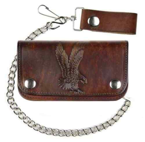 "Mascorro Men/'s 6/"" Embossed Eagle Antique Biker Chain Leather Wallet AB412-42"