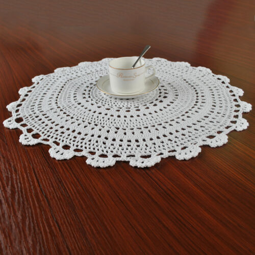 White Vintage Hand Crochet Lace Doily Round Table Placemat 20inch