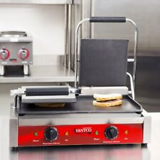 Commercial Resto Double Panini Sandwich Grill Press Top Amp Bottom Smooth Plates