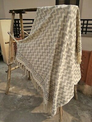 Floral Print Indian Throw Chair Blanket Bohemian Bedroom Cover With Tassels Sham