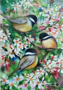 """Sweet Chickadees Garden Flag by Toland, 12.5"""" x 18"""",  #7078"""