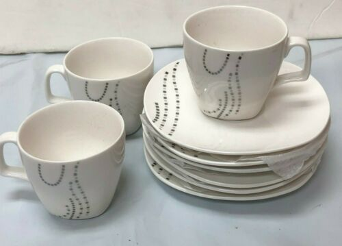 Round Coffee Cup/& saucer Set silver line //90cc white Porcelaine bow box