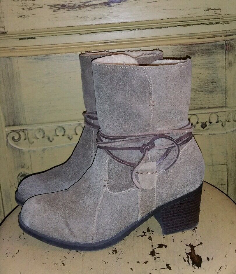EDDIE BAUER LEATHER HIGH HEEL ANKLE BOOTS 6.5 M WESTERN BROWN SHERPA LINED SUEDE