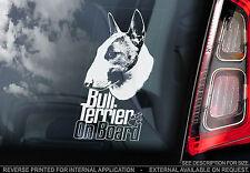 English Bull Terrier - Car Window Sticker - Dog on Board Brindle Sign Gift -TYP6