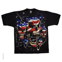 Patriotic Skulls Red White Blue Black Licensed T-shirt